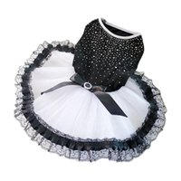 Dog Apparel Pet Wedding Costume Dress Bling Rhinestone Puppy Black Princess For Small Dogs Cats Chihuahua Clothes XS-2XL
