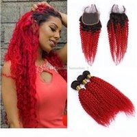 1b Kinky Cheveux bouclés Tissu avec fermeture en dentelle Région de cheveux Ombre rouge avec fermetures de dentelle Afro Kinky Virgin Malaysian Cheveux Tissu
