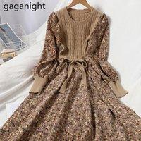 Gaganight Vintage Women Polectory Цветок Maxi платье с длинным рукавом CORDUROY вязаная вечеринка Линия платья леди шикарный корейский Vestidos