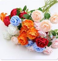 3 Голова Очаровательный Искусственный пион Цветок для домашней вечеринки Свадебные Украшения Шелковые Цветы Ужин Центральный стол Декор Фестиваль