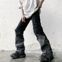 Women's Jeans Autumn Punk Street Women Loose Hip-hop Fringe Edge Retro Washed Bleached Wide-leg Black Denim Pants Streetwear Harajuku