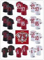 "75 homens mulheres juventude san francisco ""49ers"" 85 George Kittle 10 Jimmy Garoppolo 5 Trey Lance 97 Nick Bosa Custom Football Jersey"