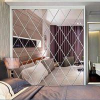 Wall Stickers 2021 Rhombus Mirror Sticker DIY Background Splicing Decal Living Room Home Decor Pegatinas De Pared Decoration