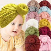 Newborn Baby Bows Knot Turban Hat Donut Head Wrap Soft Мягкая хлопчатобумажная головка Handmade Handband Beanie Caps Kids Младенческая малыша Широкая полоса для волос головной убор G679FCD