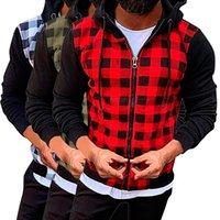 Men's Hoodies & Sweatshirts Man Plaid Patchwork Hood Sweatshirt Causal Long Sleeve Shirt Coat Zipper Plus Size Hoodie Sudadera Hombre Moleto