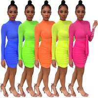Women solid mini dresses sexy mesh sheer skirt candy color clubwear designer fall clothing long sleeve fashion dress