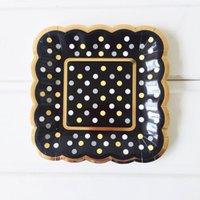 Forniture per feste 8 pezzi Set di stoviglie Bronzing Dots Dots Piastra di carta monouso Decorazione di compleanno di nozze RRD6761