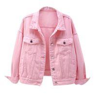 Women's Jackets Plus Size Denim Jacket Spring Autumn Short Coat Pink Jean Casual Tops Purple Yellow White Loose Outerwear KW02