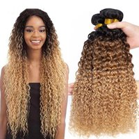 Human Hair Bulks Ombre Kinky Curly Malaysian Weave Bundles 1b 30 27 Remy Extensions Three Tone Blonde 3  4