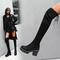 Boots Black Thigh High Female Winter Women Over The Knee Flat Stretch Sexy Fashion Shoes 2021 Botas De Mujer