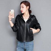 Women's Jackets Large Size 3XL 4XL Leather Jacket 2021 Spring Motorcycle Coat Women Winter Plus Cotton Female Black