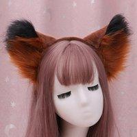 Hair Accessories Large Furry Cat Ears Headband Contrast Color Fluffy Plush Animal Cosplay Costume Hoop Christmas Halloween Headpiece