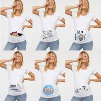 Ropa de maternidad Embarazada Funny Funny Womens T Shirts Impresión de bebé O Cuello Manga corta Tops Embarazo