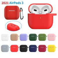 Silicone Protective Sleeve Earphone Case Full Cover for AirPods 2021 3rd Generation Airpods 3 4 Cases Apple Bletooth Headphone Accessories with Hook
