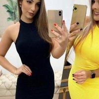 미니 스커트 Vestidos 섹시한 여름 민소매 고삐 슬림 짧은 노란색 검은 백리스 패키지 엉덩이 얇은 여성 드레스