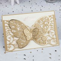 100pcs Butterfly Cut Cut Invitación Hollow Flora Tarjetas de felicitación de la boda personalizada Suministros de fiesta