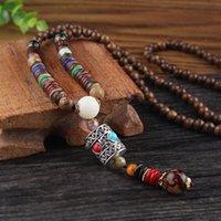 Pendentif colliers vintage style ethnique lotus ox cornes de bois perlé pendentif pierre déclaration déclaration népal collier femmes hommes bijoux