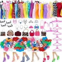 Aleatório 1 definir atacado roupas boneca acessórios acessórios sapatos botas cabide mini vestido bolsas de bonecas de bonecas de bonecas brinquedo