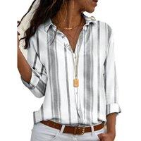 2021 Yeni Bahar Sonbahar Kadın Bluz Çiçek V Yaka Uzun Kollu Çalışma Gömlek Kadın Ofis İş Için Çizgili Bluz Tops