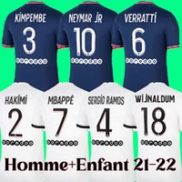 21 22 maillot de foot PSG Maillot de foot PARIS Saint-Germain 2021 2022 MBAPPE NEYMAR SERGIO RAMOS ACHRAF HAKIMI VERRATTI kits enfants hommes