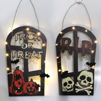 Halloween Party Decoration tombstone shape LED lamp door hanging pumpkin skull welcome card wall decoration listing crafts