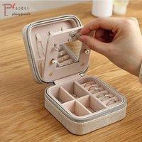 Cajas de almacenamiento Papas 1 PU Cuero Portátil Mini Joyería Caja de Empacate Caja Maquillaje Organizador Cosmético Espejo Pendiente Anillo Collar Caske