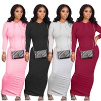 Casual Women Dress Hooded Long Dresses Knit Ribbed Full Sleeve Party Night Clubwear Vestidos Solid Color F0512