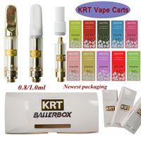 Più nuovo KRT Vape Cartridges 0.8ml 1ml Cartuccia di ceramica Atomizers 510 Thread Glass Bisck Oil DAB Pen penna vaporizzatore di cera Carrette elettroniche Sigaretta
