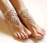 Häkeln weiße barfuß sandalen nackte schuhe fuß schmuck strand tragen yoga schuhe braut anklet bridal strand zubehör weiße spitze sandalen f08