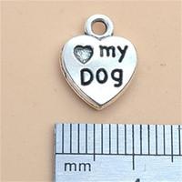 20pcs Charms Heart Love Mon chien 13x20mm Tibétatan Bronze Silver Couleur Pendentifs Antiques Bijoux Antiques Faire bricolage artisanat à la main 1425 Q2