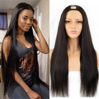 U Part Wigs Straight Human Hair For Woman Malaysian Remy Middle U-Shape Natural Color Wig Glueless