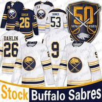 Buffalo Sabers 50th Patch Golded Jersey 53 Jeff Skinner 26 Rasmus Dahlin Home Away Blank Homens Hóquei Jerseys