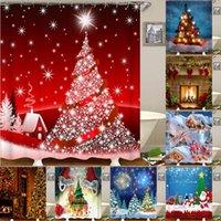 Rideaux de douche Motif de Noël Rideau d'impression étanche Matériaux de salle de bain Fournitures de Noël Décor _wk
