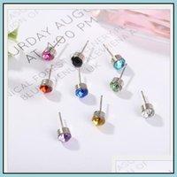 Stud Earrings Jewelryearrings Charm Shinny Rhinestone Earring Jewelry Aessories Multicolor Simple Austrian Crystal Golden Sier Earings Ps157