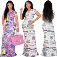 Gelddollar gedruckt Sommer Bodycon Maxikleid Frauen Rundhals Kurzarm Mermaid Kleid Elegante High Taille Packung Hip Clubwear Robe