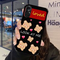 Cases Cute bear Cartoon love heart women leather Phone case cover for Huawei P10 P20 P30 P40 P50 Pro Mate 30 40 Nova 3 4 5 6 7 8 Heavy fall shockproof protector