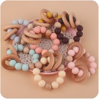 Baby Teethers Toys wristband Natural Wooden Silicone Teething Beads Teether Newborn Teeth Practice Food Grade Soother Infant Feeding Kids Chew Toy Z4260