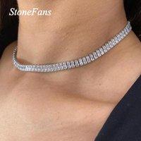 Stonefans di lusso gioielli cubic zirconia collana taglio tennis girocollo per le donne hip-hop ghiacciato cubo in cristallo catene
