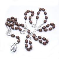 Vierge religieuse Marie Notre-Dame de Guadalupe Pendentifs Colliers Perles en bois Chaînes Collier Collier Church Bijoux Pendentif