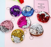 cute Mermaid Sequin coin purse mini Storage Bag Key Ring with Zipper Round for students Headphone