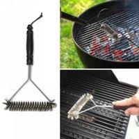 Küchenzubehör BBQ Grill Barbecue Kit Reinigungsbürste Edelstahl Kochwerkzeuge Draht Borsten Dreieck Reinigen Bürsten