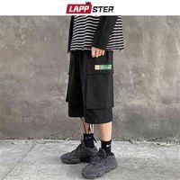 Lappster Men Ins Korean Fashions Pantalones cortos de carga Verano Bolsillo Negro Multifunción Pantalones recortados Streetwear Sweatshorts 5XL 210630