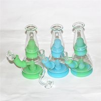 glow in dark water pipe hookahs silicone smoking bong with glass bowl Dab rig hookah portable quartz banger dabber tool