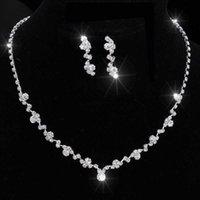 Moda donna collana orecchini set in lega di strass nozze signora da sposa ciondolare orecchino collane gioielli accessori h9