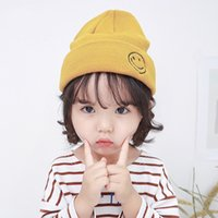 Children's Wool Cartoon Smiling Face Embroidered Spring and Autumn Knitting Pullover Tide Winter Warm Ear Protection Hat Baby