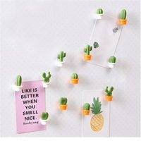 مغناطيس الثلاجة 6 قطعة 3d لطيف مصغرة الصبار ملصقات الثلاجة النبات الأخضر مشبك المغناطيسي رسالة ديكور المنزل تذكارية #W