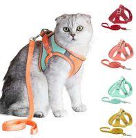 Кошка жгут поводки и жилет тяговые веревки набор ходьбы легкий контроль ночной безопасный домашний жгут с отражающим ремешком маленький большой котенок щенок Щенок HH21-334