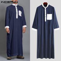 Mode Männer Muslim Kaftan Stehkragen Patchwork Langarm Robe Islamic Arabisch Naher Osten Jubba Thow ABAYA InfaRun 5XL 7 Ethnische Kleidung