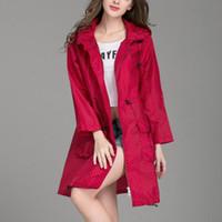 Women's Trench Coats Autumn And Winter Wave Rain Jacket Outdoor Light Windbreaker Button Pocket With Cap Waterproof Windproof