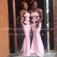 Bridesmaid Dress 2021 Light Pink Long Dresses With Black Appliques Off Shoulder African Women Mermaid Wedding Party Vestidos